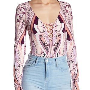 NWT Free People Pick A Place Bodysuit Top M